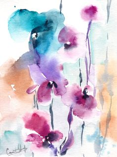Abstract Florals #Watercolor Painting Original Watercolor Painting Modern #Watercolour Art Color theme: pink, purple, turquoise One of a Kind Watercolour Art Scale 6x8'' M... #art #etsy #trending #daily #sale #watercolor #painting #watercolour #floral #aquarelle