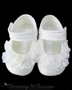Baby Girls Ivory Christening   Special Occasion Shoes with Lace and Rosebud  Trim Elena. Zoom 3816ad44131