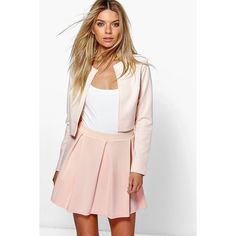 Boohoo Jackie Box Pleat Skater Skirt ($16) ❤ liked on Polyvore featuring skirts, nude, knee length pleated skirt, flared midi skirt, midi skirt, pleated circle skirt and pink circle skirt