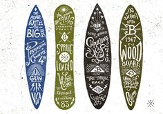 Graphic & hand-lettering boards....surfboard/ skateboard signs and chalkboards