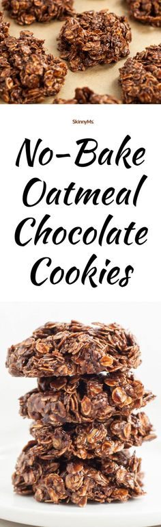 Our No-Bake Oatmeal Chocolate Cookies are perfectly soft and delicious. There's nothing like a homemade sweet treat that doesn't break the waistline! #nobake #skinnydessert #cleaneatingsnacks