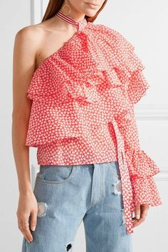 Rosie Assoulin - One-shoulder Ruffled Printed Cotton-gauze Top - Bright orange - x small