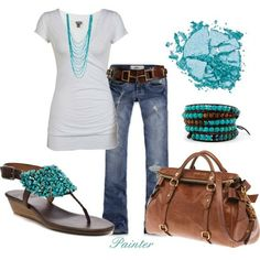 Casual with turquoise accents.