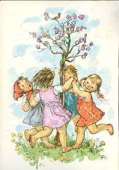 MKF - Marie Kvechova-Fischerova German Folk, Norse Pagan, Spring Art, Drawing Practice, Children's Book Illustration, Vintage Pictures, Vintage Postcards, Vintage Children, Vintage Art
