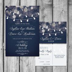 Conjunto de invitación de boda luz Strand