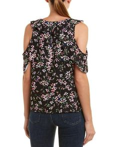 Parker Synthetic Cold-shoulder Ruffle Top in Black - Save 3% - Lyst Parker Black, Ruffle Top, Flutter Sleeve, Color Patterns, Top Colour, Cold Shoulder, Sleeves, Gift Boxes, Clothes