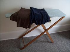 My old wooden ironing board.  It's certainly lasting me a lot longer than those pieces of scrap metal they currently call 'ironing boards'.