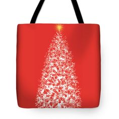 Christmas Tote 18x18 Christmas Tree Red Purple Green White Gold Tote - pinned by pin4etsy.com