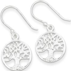 925 Sterling Silver Filigree Tree of Life Medallion Dangle Earrings