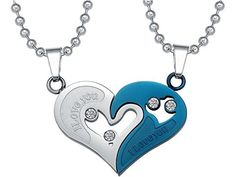 """UM Jewelry 2pcs Mens Womens Stainless Steel Couples Heart Puzzle Pendant Love Necklace Set. Engraved Words""""I Love You"""";Package:1Pair(2Pcs). Material:Stainless Steel and Rhinestone. Feature:Anti-allergic,Never fade,High Polished. Highly recommended necklace for couples looking for Valentine's day gifts. Comes with one black velvet bag,60 days money back guaranteed."""