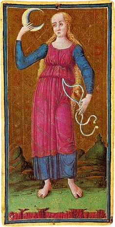☤alquimia - The Moon card from the Visconti-Sforza Tarot deck. History Of Tarot Cards, Le Bateleur, Intuition, Tarot Significado, The Moon Tarot Card, Tarot Card Meanings, Strange History, Tarot Readers, Major Arcana