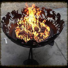 Gas Wild Mustang Fire Bowl By BAFCO Wild Mustangs, Fire Bowls, Alaska, Gems, Sculpture, Fire Pits, Metal, Outdoor Decor, Fish