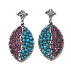 Rarities Turquoise, Ruby & White Zircon Drop Earrings