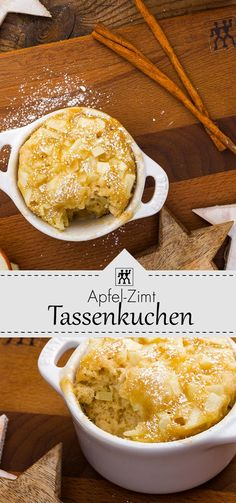 Fresh cake in just 5 minutes. The Tasenkuchen with apple and cinnamon will be quite e . Easy Cake Recipes, Baking Recipes, Gumdrop Cake Recipe, Phirni Recipe, Microwave Dinners, Cinnamon Cupcakes, Fresh Cake, Butter Chocolate Chip Cookies, Elegant Desserts