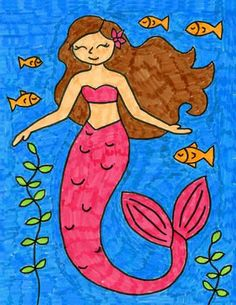 Now you can learn how to draw a mermaid in a few easy steps, perfect for any story or movie you might happen to be watching about them. Best Drawing For Kids, Drawing Pictures For Kids, Easy Drawings For Kids, Basic Drawing, Disney Drawings Sketches, Art Drawings Sketches Simple, Colorful Drawings, Cute Drawings, Mermaid Drawing Tutorial