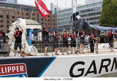 Clipper race yacht Garmin at St Katharine Docks London UK - Stock Image Rowing, Buy Now, Boats, Stock Photos, London, Photography, Image, Photograph, Ships