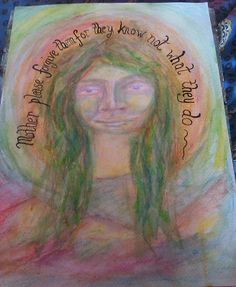 """felt like painting a green face..""""mother please forgive them for they know not what they do"""" all about the destruction of the planet and inhumanity with the need for hope, faith and good will"""