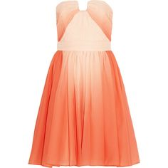 Halston Heritage Pleated ombré chiffon dress ($845) ❤ liked on Polyvore featuring dresses, vestidos, pink, orange cocktail dress, pink chiffon dress, red strapless dress, pink dress e red dress