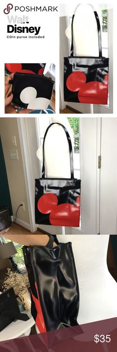 """Walt Disney World Purse Walt Disney World purse and coin purse. LIKE NEW!!! Interior is impeccably clean!!! Like seriously! Measures 11"""" wide by 12"""" tall and 5"""" wide. Made out of polyvinyl. Walt Disney World Bags Shoulder Bags"""