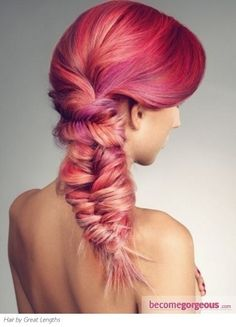 Pink and purple fishtail braids. We're obsessed with this style!