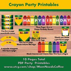 Printable Crayon Party Package Crayon Party Printables Printable Party Supplies Crayon Crayon Birthday Crayon Party Printable Pages Crayon Birthday Parties, Baby Birthday, Birthday Party Themes, Birthday Ideas, Husband Birthday, Birthday Invitations Kids, Happy Birthday Banners, Crayon Themed Classroom, Crayola