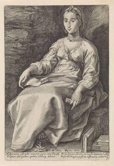 Anonymous | Melpomene, Anonymous, Franco Estius, Claes Jansz. Visscher (II), 1601 - 1652 | De zittende Melpomene, de muze van het treurspel, houdt een hoorn in haar hand en een document op haar schoot. Rechts van haar liggen boeken. Onder de voorstelling twee tweeregelige verzen in het Latijn.