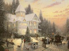 Thomas Kinkade Victorian Christmas painting is available for sale; this Thomas Kinkade Victorian Christmas art Painting is at a discount of off. Thomas Kinkade Art, Thomas Kinkade Christmas, Snow Scenes, Winter Scenes, Christmas Scenes, Christmas Pictures, Victorian Christmas, Vintage Christmas, White Christmas