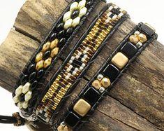 BEADED LEATHER WRAP Bracelet-SuperDuos-Bronze-Black-Ivory Picasso-Czech Tiles-Boho Leather Wrap-Triple Wrap-Leather Loom Bracelet (TW40)