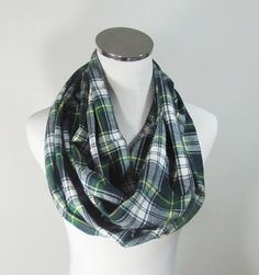 Green Infinity Scarf Green  Plaid Infinity Scarf by ScarfTempo