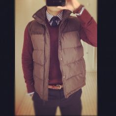 Vest, Maroon sweater