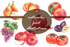 Posted by @newkoko2020 Watercolor fruits set by Anastasia Nio on @creativemarket