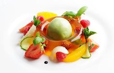 Pimm's jelly with cucumber sorbet