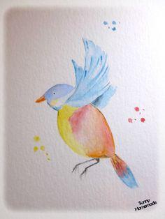Oiseau à l'aquarelle - challenge art journal 'dans les airs'