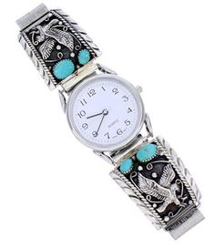 Turquoise Genuine Sterling Silver Eagle Southwest Watch PS71695 http://www.silvertribe.com