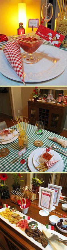 festa italiana Little Italy Party, Pizza Party, Italian Party Decorations, Italian Themed Parties, Bistro Decor, Cinema Party, Italian Bistro, Italian Night, Baking Party