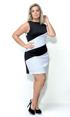 As listras diagonais grossas criam curvas no corpo plus size, alongando e dando a impressão de uma cintura mais fina   Foto: Estúdio Escala