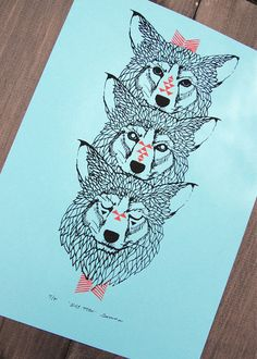 Wolf Totem - Two Color Modern Tribal Wolves Screen Print - Editon of 90 - by Bark Decor. $27.00, via Etsy.