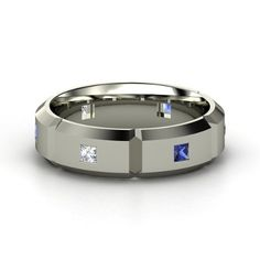 Blue sapphire and diamond Mortise and Tenon Ring