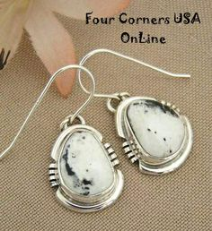 Four Corners USA Online -  Argke Nelson White Buffalo Turquoise Stone Sterling Earrings Native American Silver Jewelry NAER-1416, $99.00 (http://stores.fourcornersusaonline.com/argke-nelson-white-buffalo-turquoise-stone-sterling-earrings-native-american-silver-jewelry-naer-1416/)