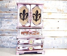 Shabby Chic Vintage Hand Painted Designed Upcycled Trinket Treasure Jewelry Box Milinery Florals Fabric Lined