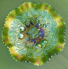 Northwood Three Fruits Stippled Carnival Glass Ruffled Bowl | eBay