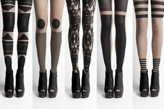 geometric black nude white tights