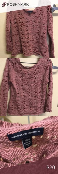American Eagle Sweater Light pink & cute! Breathable due to the holes American Eagle Outfitters Sweaters V-Necks