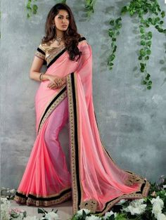 Pink Chiffon Saree with Embroidery Work