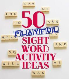learning to read activities, beginning reading activities, 50 sight word activities, 50 sight reading words, activ idea