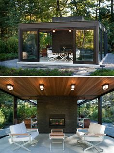 Boston firm Flavin Architects have collaborated with Zen Associates to design a 'Glass House In The Garden', a small glass-walled building in a backyard, that includes a nice relaxing tearoom and a greenhouse for the owner's bonsai plant collection.