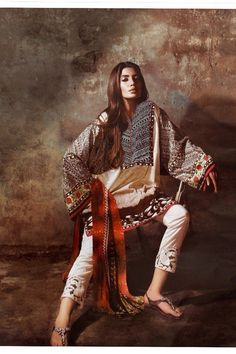 Cream & Brown color Cotton Satin fabric Lawn Designer Suit - Lawn Suits, Pakistani Lawn Suits, Anarkali suit, Vardhita sarees, Designer Suit
