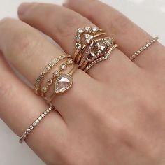 Pools of rose cut diamonds in our Tidals, Pera and Nova Rings #rosecutdiamonds #ringstack #diamondring #weddingbands #alternativebride #alternativeengagementring #madeinnyc #valejewelry