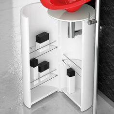 Floor-standing lacquered wooden vanity unit LEONARDO KOIN XL MOSAIC BLACK - Glass Design