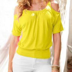 Dámské stylové volné tričko s odkrytými rameny žluté – Velikost L Na tento  produkt se vztahuje c61d2c1735